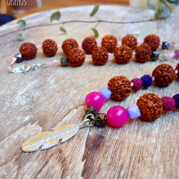 Mala Necklace. Mala bead necklace. Rudraksha, Fluorite Quartz, Jade, Lava Stone Mala, Silver Feather. Yoga Necklace. Yoga Jewelry Buddhist