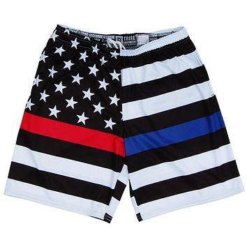 Police & Fire American Flag Lacrosse Shorts
