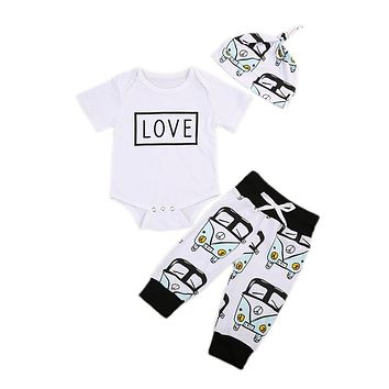 Toddler Baby Summer Letter Top Floral Legging 3pcs Baby Unisex Cotton Clothes New Arrival Fashion Outfits Set