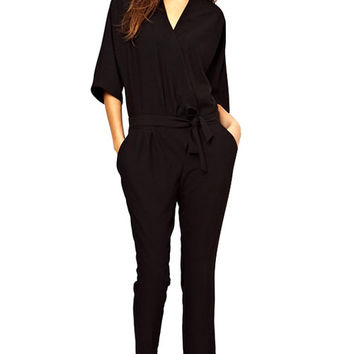Black Half Sleeve Self-Tie Jumpsuit