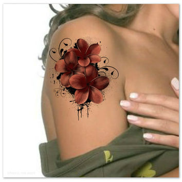 Temporary Tattoo Shoulder Flower Ultra Thin Realistic Fake Tattoos