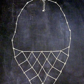 Geometric Triangle Bar Necklace Boho Abstract Bib Gypsy Matte Silver Links Chain Design