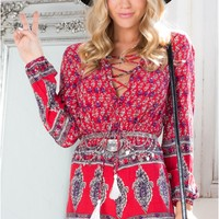 Laced In Playsuit in Red Print