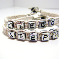 Couples Hemp Name Bracelets Best Selling by customhemptreasures