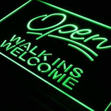 Open Walk Ins Welcome Barber Shop Hair Salon Neon Sign (LED)