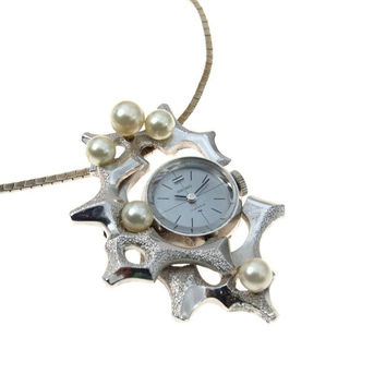 Modernist Seiko Pendant Watch Necklace Abstract Design Cultured Pearls