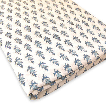 Indian Hand Printed Cotton Fabric Exotic Design Fabric By The Yard White Bleached Pure Cotton Fabric Multi Purpose For Making Shirt/Dress
