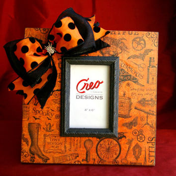 Spooky Halloween 4x6 Picture Frame Photo Frame with Ribbon and Spider Rhinestone Bling