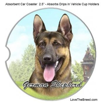German Shepherd Absorbent Car Coaster