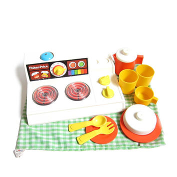 Fisher Price Kitchen Set Vintage Stove Toy with Plates, Cups, Mugs, Spoon & Fork