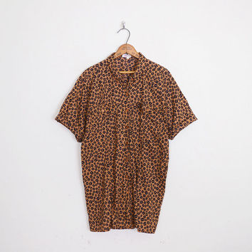 Coffee Bean Print Novelty Print Shirt Top Brown Shirt 80s Oversize Shirt Short Sleeve Button Up Shirt 80s Shirt Women M Medium L Large