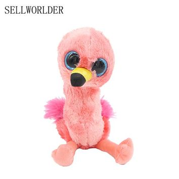 "Ty Beanie Boos Big Big Eyes 6""  Flamingo Bird Plush Animal Stuffed Dolls Toys 15cm"