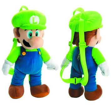 "Super Mario Bros. Luigi 16"" Plush Backpack"
