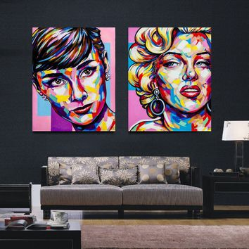 2PCS /Set Original Oil Painting Art Print - Portrait of Fashion Icon - Audrey Hepburn and Marilyn Monroe Modern Canvas Wall Art