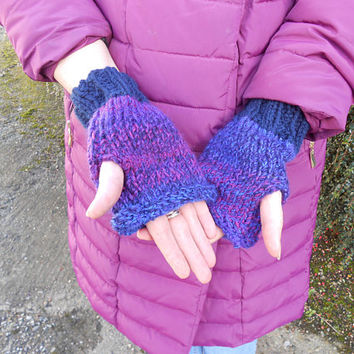 Fingerless Mittens. Gift for Her. Vegan gloves. Hand knit gloves. Texting mitts. Coworker gift. Driving gloves. Gift Under 15