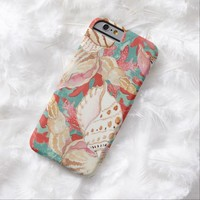 Stylish Pastel Turquoise Pink Red Coral Sea Shells Summer Pattern iPhone 6 Case