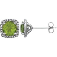 Sterling Silver Peridot & .015 CTW Diamond Halo-Style Earrings