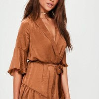 Missguided - Brown Satin Wrap Kimono Playsuit