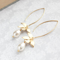 Gold Orchid Flower Earrings Long Floral Dangle Cream Pearl Earrings Bridal Jewelry Bridemaids Gift Nickel Free Summer Romantic Wedding