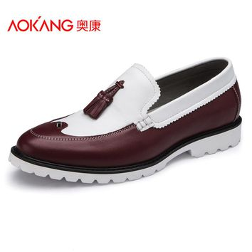 Aokang Vintage Leather Shoes For Men Spring Casual Slip-on Mens Shoes Genuine Leather Shoes Cowhide Classic Oxford Shoes
