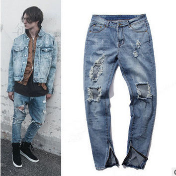 Knife Ripped Holes Baggy Jeans Pants [6849998275]