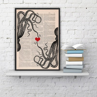 octopus couple in love-Octopus Red heart Printed on dictionary -gift girlfriend- Wall art house decor,octopus poster print,wall hanging,love