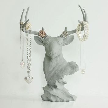 Deer Tabletop Jewelry Rack | Faux Taxidermy| Gray Resin