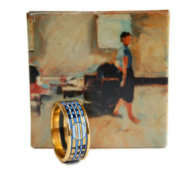 Michaela Frey Wille Enamel Ring Vintage Modernist Geometric Contemporary Art Collection Made in Austria Size 8.5
