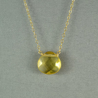 Beautiful Citrine Quartz Heart Necklace, Faceted Glass Heart Bead, 14K Gold Filled Chain, Wonderful Jewelry