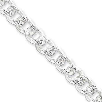 Men's 7.5mm, Sterling Silver Solid Pave Curb Chain Necklace, 24 Inch