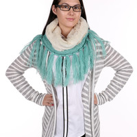 Mint Cable Knit Infinity Neck Warmer