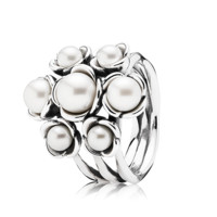 PANDORA | Silver ring with white freshwater cultured pearls