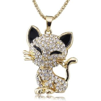 Pretty Cat Crystal Necklace