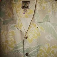 TOMMY BAHAMA HAWAIIAN SHIRT VTG YELLOW FLOWERS CAMP CASUAL!SIZE XL!100% SILK !