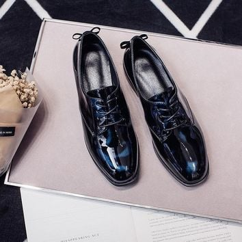 Women's Patent Leather Lace-up Flats Oxfords Brand Designer Square Toe Leisure Brogues Shoes High Quality Comfort Female Shoes