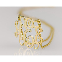 Script Monogram Necklace in 18K  Gold Plated.925 Sterling Silver