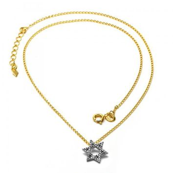 Gold Layered 04.09.0042.18 Fancy Necklace, Star of David Design, Matte Finish, Two Tone