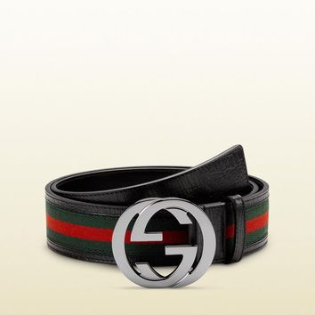 NEW!!!! Gucci men's new style black with web adjustable belt-- 95 CM