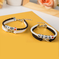 Handmade Couple Bracelet Lover Hers And His Charm Braided Leather Lovers' Bracelet Pulseras Mujer Bracciali Valentine's Day Gift