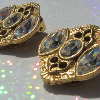 1928 Earrings Vintage Jewelry Clear Marquise and by DLSpecialties