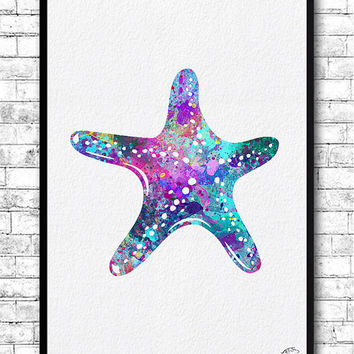 Blue Starfish Watercolor Print Starfish Illustration Wall Hanging Giclee Art Home Decor Watercolor Sea Animal Nursery Art Starfish Poster