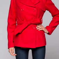 Lorelei Fleece Pea Coat: Red