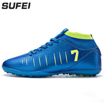 sufei New Arrival High Ankle Soccer Shoes TF Football Boots Kids Futsal Hard Court Athletic Training Soccer Cleats