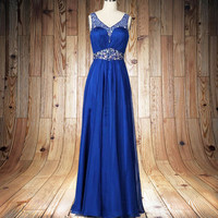 Royal blue Prom dress backless Wedding Party Dress Long  Bridesmaid Dresses Long Prom Dresses party dress,formal dress