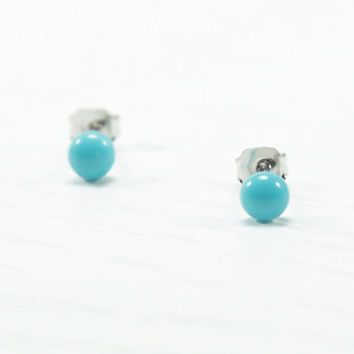 Turquoise Stud Earrings - Tiny Studs - Turquoise Blue Ear Studs - Teal Post Earrings - Surgical Steel Studs - Summer Beach Fashion - 4mm