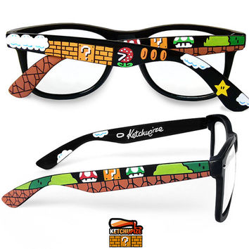 Super Mario glasses unique hand painted - Piranha Plant - Question block - 1UP Mushroom