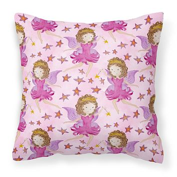 Watercolor Fairy Princess on Pink Fabric Decorative Pillow BB7547PW1818