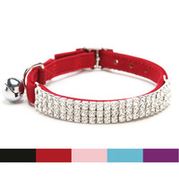 Free shipping Collar Cat Baby Puppies Dog Safety Elastic Adjustable with Diamante Rhinestone bell Soft velvet material S