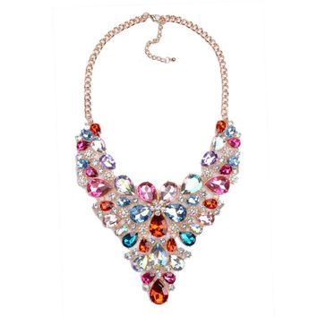 Modern Large Gem Crystal Statement Choker Necklace.   18 Inches with 3 Inch Extension.   Available in Red, Pink, White, Blue and Multicolored.   ***FREE SHIPPING***
