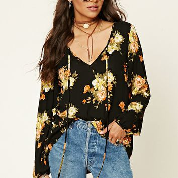 Contemporary Floral Gauze Top